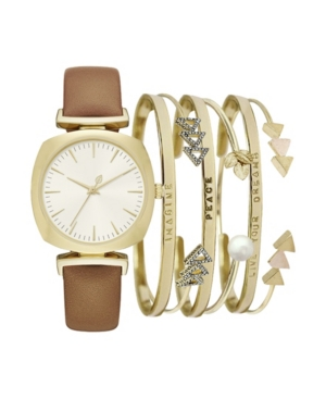 Women's Brown Leather Multiple Strap Watch 37mm