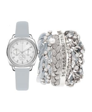 Women's Analog Gray Strap Watch 34mm with Silver-Tone Chain Bracelets Set