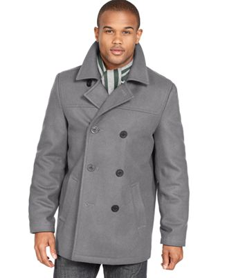Tommy Hilfiger Coat, Melton Wool-Blend Peacoat - Coats & Jackets ...