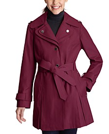 Petite Hooded Belted Trench Coat