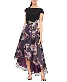 High-Low Printed-Skirt Dress