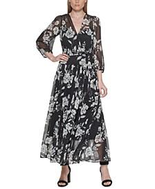 Printed Faux-Wrap Maxi Dress