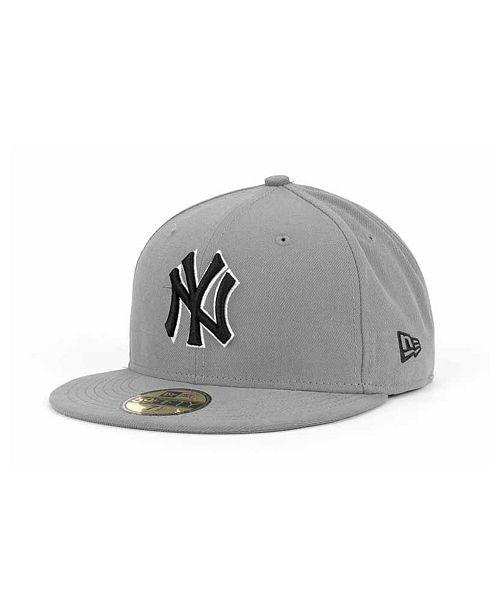 New Era New York Yankees MLB Gray BW 59FIFTY Cap - Sports Fan Shop ... b8a9b7e240e