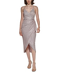 Metallic Wrap Midi Dress