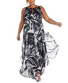 Plus Size Printed Ballgown