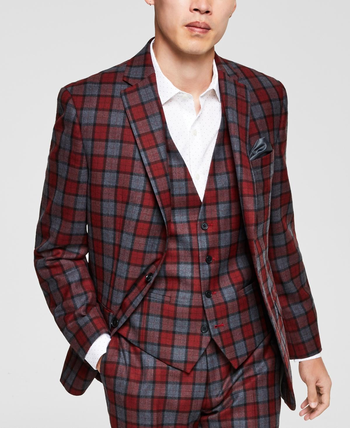 1960s Men's Clothing Bar Iii Mens Slim-Fit RedGray Plaid Suit Jacket Created for Macys $425.00 AT vintagedancer.com
