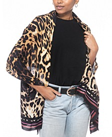 Striped Leopard-Print Wrap, Created for Macy's