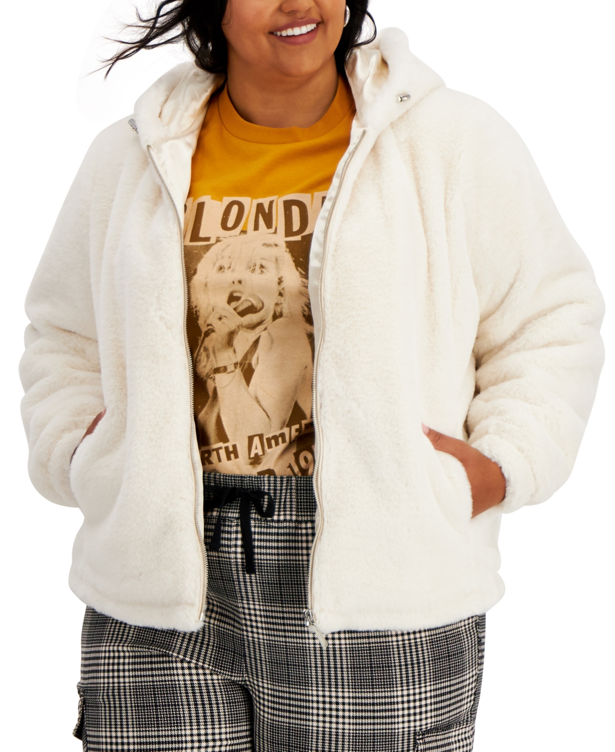 Trendy Plus Size Hooded Faux-Fur Coat
