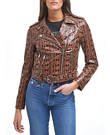 Plus Size Faux Leather Belted Motorcycle Jacket