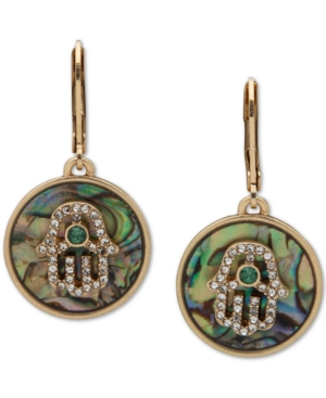 Gold-Tone Crystal & Abalone Hamsa Hand Drop Earrings