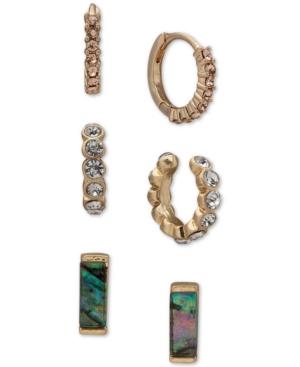 Gold-Tone 3-Pc. Set Crystal Hoop & Abalone Stud Earrings
