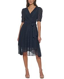 Glitter-Dot Puff-Sleeve Midi Dress