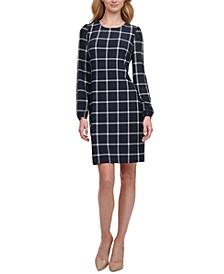 Petite Grid-Print Sheath Dress