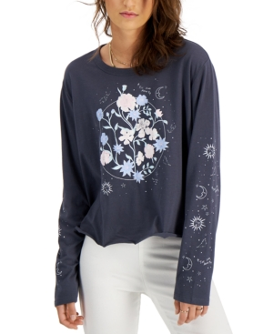 Juniors' Floral Celestial Long-Sleeve T-Shirt
