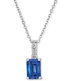 Blueberry Tanzanite (3/4 ct. t.w.) & Vanilla Diamond (1/20 ct. t.w.) Pendant Necklace in 14k White Gold