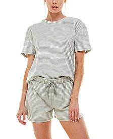 Printed T-Shirt & Shorts Pajamas Set