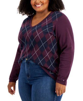 Plus Size Cotton Argyle Sweater