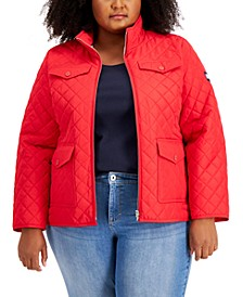 Plus Size Quilted Logo Patch Jacket