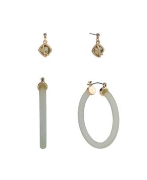 Duo Stud and Hoop Earrings Set