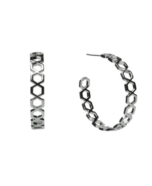Silver-Tone Hexagon Post Hoop Earrings