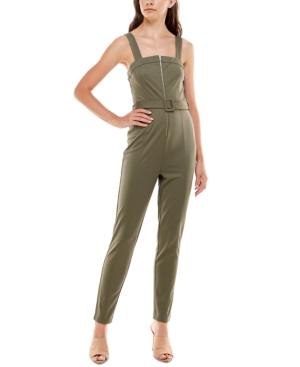 Juniors' Zip-Front Belted Jumpsuit