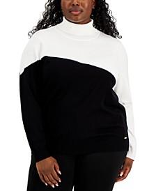 Plus Size Asymmetrical-Colorblocked Turtleneck Sweater