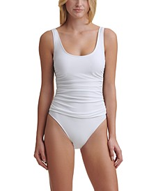 Mesh Side Shirred One Piece Swimsuit