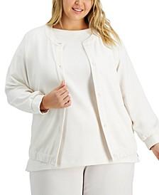 Plus Size Drawstring-Hem Jacket, Created for Macy's