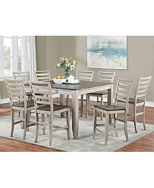 Abacus Drop Leaf Dining 7-Pc set ( Drop Leaf Counter Height Table + 6 Side Chairs)