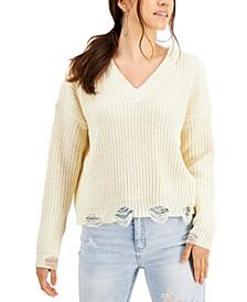 Juniors' Deconstructed Chenille Sweater
