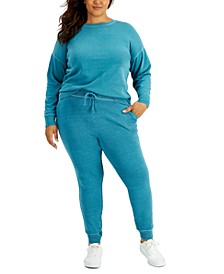 Plus Size Solid Sweatshirt & Tapered Joggers, Created for Macy's