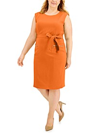 Plus Size Belted Zip-Pocket Dress
