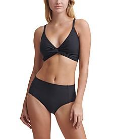 Twist-Front Bikini Top & Seamed High-Waist Bikini Bottoms