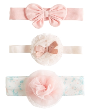 First Impressions Kids' Baby Girls 3-pack Bow Headband Set, Created For Macy's In Angel White