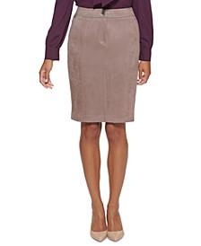 Petite Faux-Suede Pencil Skirt