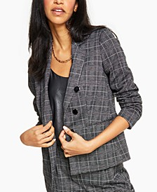 Plaid-Print Faux-Double-Breasted Jacket, Created for Macy's