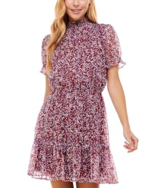 Juniors' Printed Smocked Dress