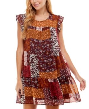 Juniors' Patchwork-Print Dress