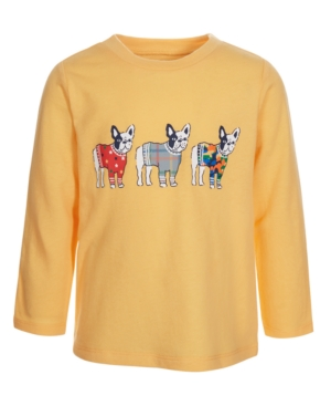 First Impressions Kids' Baby Boys Pups T-shirt, Created For Macy's In Sunset Gold