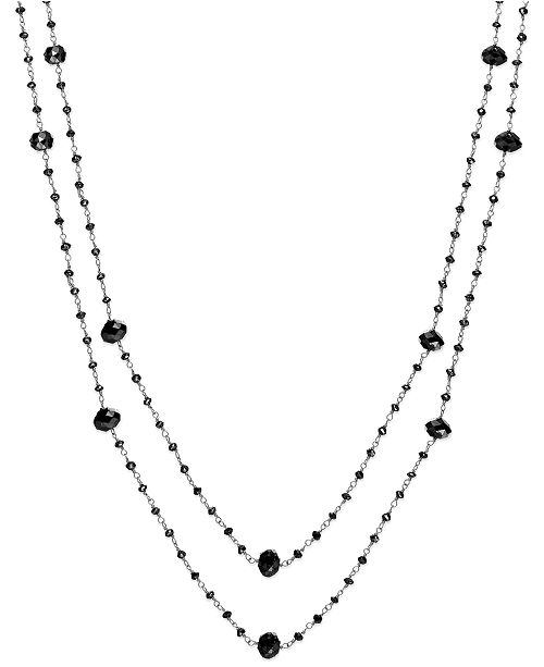 Macy's Black Diamond Two-Strand Station Necklace in 14k White Gold (20 ct. t.w.)