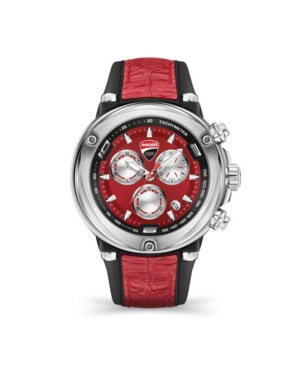 Men's Partenza Chronograph Black and Red Silicone Strap Watch 49mm