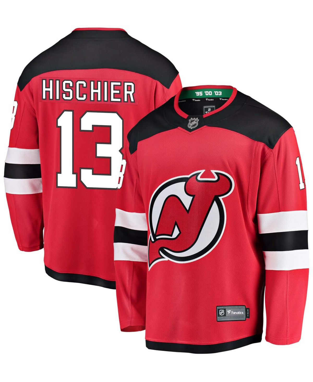 Men's Nico Hischier Red New Jersey Devils Breakaway Player Jersey