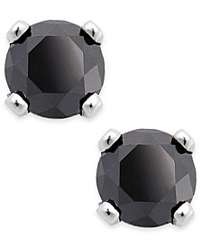 Black Diamond Round Stud Earrings in 10k White Gold (1/10 ct. t.w.)