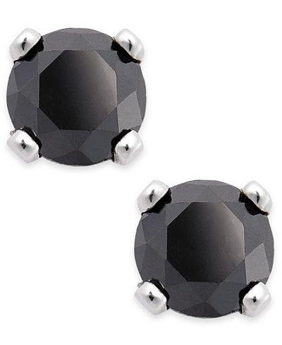 Black Diamond Round Stud Earrings in 10k White Gold (1/10 ct. t.w.)