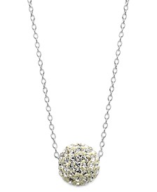 Crystal Ball Pendant Necklace in Sterling Silver (1-1/2mm)