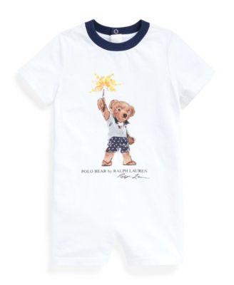 폴로 랄프로렌 Polo Ralph Lauren Baby Boys Sparkler Bear Cotton Shortall,White