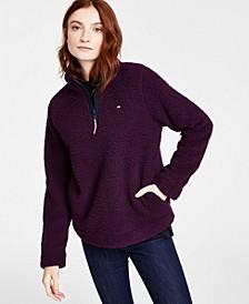 Sherpa Zippered-Neck Sweatshirt