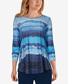 Plus Size Embellished Striped Burnout Top