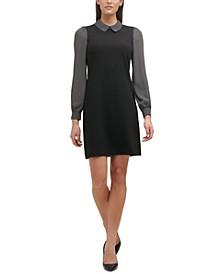 Petite Contrast-Trim Sheath Dress