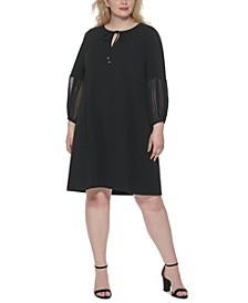 Plus Size Chiffon-Sleeve Shift Dress
